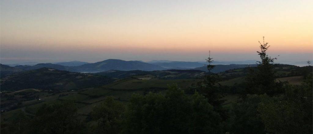 Jakobsweg, Galizien Landschaft, Bildaufnahme am Abend